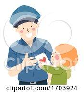 Kid Boy Police Appreciation Card Illustration
