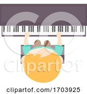 Poster, Art Print Of Kid Boy Play Piano Top View Illustration