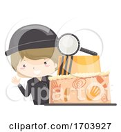 Kid Boy Mystery Theme Birthday Cake Illustration