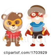 Kid Boy Teddy Bear Superhero Costume Illustration