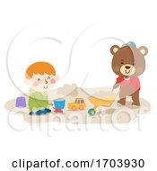 Poster, Art Print Of Kid Boy Teddy Bear Play Sand Illustration