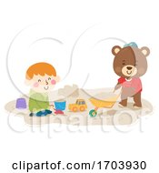 Kid Boy Teddy Bear Play Sand Illustration