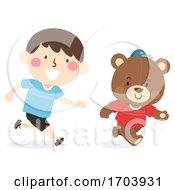 Kid Boy Teddy Bear Play Running Illustration