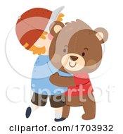 Kid Boy Imaginary Friend Hug Illustration