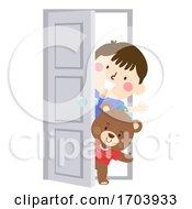 Kid Boy Teddy Bear Door Illustration
