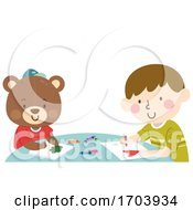 Kid Boy Teddy Bear Crayons Draw Illustration