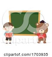 Kid Boy Teddy Bear Blackboard Illustration