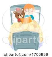 Kid Boy Teddy Bear Bedtime Story Illustration