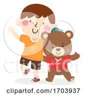 Kid Boy Imaginary Friend Teddy Bear Illustration