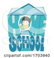 Kid Boy Home School House Illustration