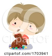 Kid Boy Easter Bunny Chocolate Eat Illustration