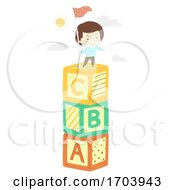 Kid Boy Blocks Top Flag Illustration