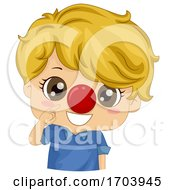 Kid Boy Red Nose Clown Illustration