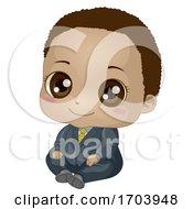 Kid Baby Boy Black Suit Illustration