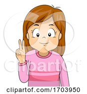 Kid Girl Sign Language Number Two Illustration