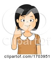 Kid Girl Sign Language Number Ten Illustration