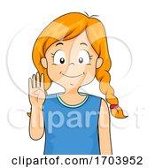 Kid Girl Sign Language Number Four Illustration