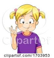 Kid Girl Sign Language Number Eight Illustration