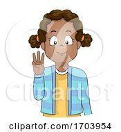 Kid Girl Black Hand Sign Language Number Six