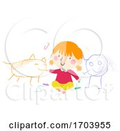 Kid Girl Toddler Scribble Characters Illustration