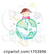 Kid Girl Scribble World Illustration