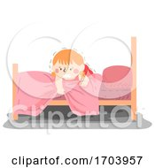 Kid Girl Fear Under The Bed Illustration