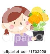Poster, Art Print Of Kid Girl Marigold Flowers Altar Illustration