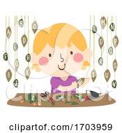 Kid Girl Leaf Art Hanging Leaves Illustration