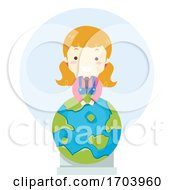 Kid Girl Earth Lectern Speech Illustration