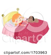 Kid Girl Pet Dog Love Sleep In Bed Illustration
