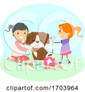 Stickman Kids Girls Vet Play Check Up Illustration