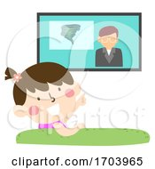 Kid Girl TV Warning System Devices Illustration