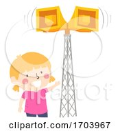 Kid Girl Tornado Warning Device Siren Illustration