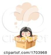 Kid Girl Thinking Cloud Illustration