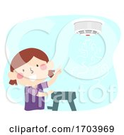 Kid Girl Smoke Fire Alarm Device Illustration