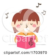 Kid Girl Sing Song Book Illustration