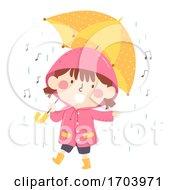Poster, Art Print Of Kid Girl Sing Rain Song Illustration