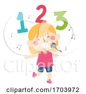 Kid Girl Sing Number Song Illustration