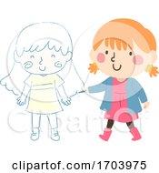 Kid Girl Draw Chalk Friend Illustration