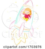 Kid Girl Draw Chalk Rocket Ship Illustration