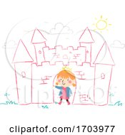 Kid Girl Draw Chalk Castle Illustration
