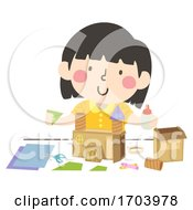 Kid Girl Carton Boxes Castle Craft Illustration