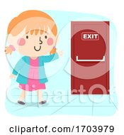 Kid Girl Exit Door Illustration