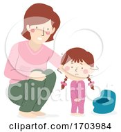 Kid Scared Of Getting Hurt In Potty Illustration