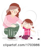 Kid Girl Mom Fear Of Insects Illustration
