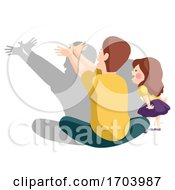 Kid Girl Man Father Play Shadow Illustration