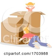 Kid Girl Man Father Play Box House Illustration