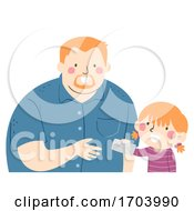 Kid Girl Give Dad Letter Illustration