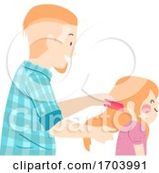 Kid Girl Father Daughter Comb Hair Illustration