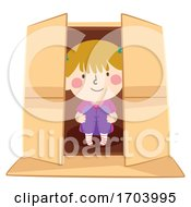 Kid Girl Inside Box Illustration
